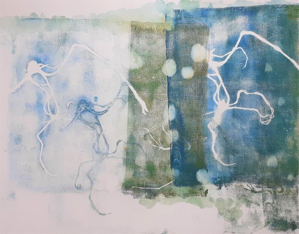 'Swimming' -monoprint of plastic strands