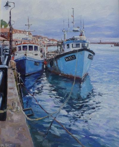 Whitby Fishing Boats,oil,25cm x 30cm