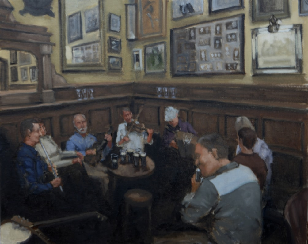 trad fest dublin oil on canvas 20x16