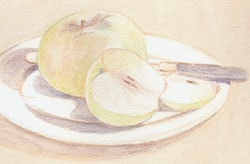How to draw half an apple