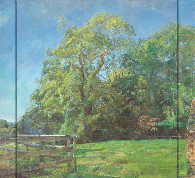 Ash Trees in High Summer, oil on birch plywood, (152.5x183cm)
