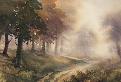 Mistty Woodland, watercolour, 11X15in (28X38cm)