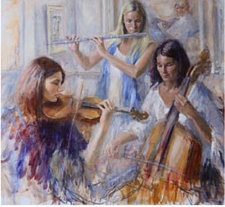 Paint girls playing musical instruments
