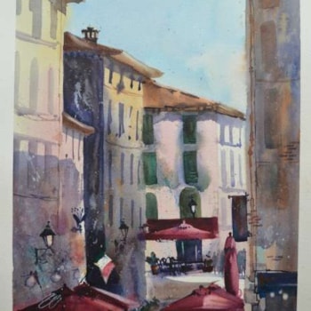 Amanda Brett watercolour artist Another Day en plein air Lucca Italy 2019