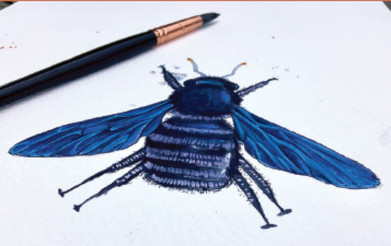 Watercolour bee with paintbrush