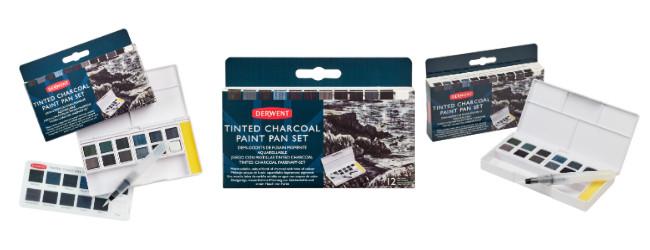 Derwent tinted charcoal paint pan set