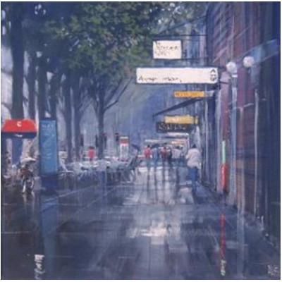 How to paint a rainy street scene in acrylic