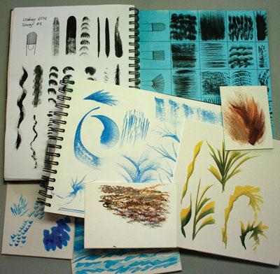 Acrylic brush strokes