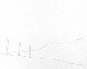 Watercolour landscape sketch