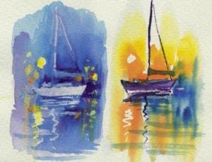 Paint boats at night