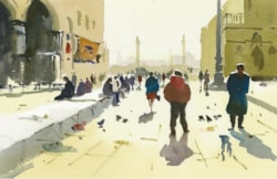 St. Mark's Square watercolour painting