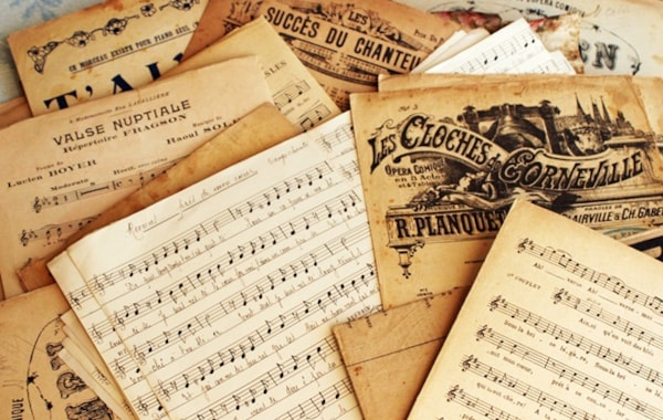 Sheet music pile