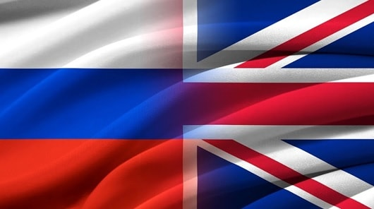 Russian and British flags
