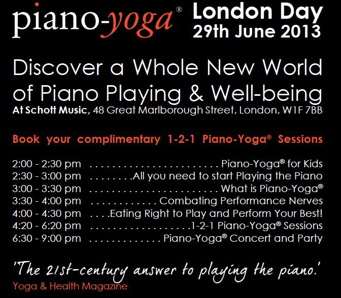 Piano Yoga At Schott Music London On 29 June