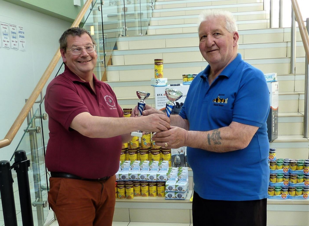 Roy Blackburn of Castleford AS receives his awards from BDAS Show Secretary Anthony Fisher.