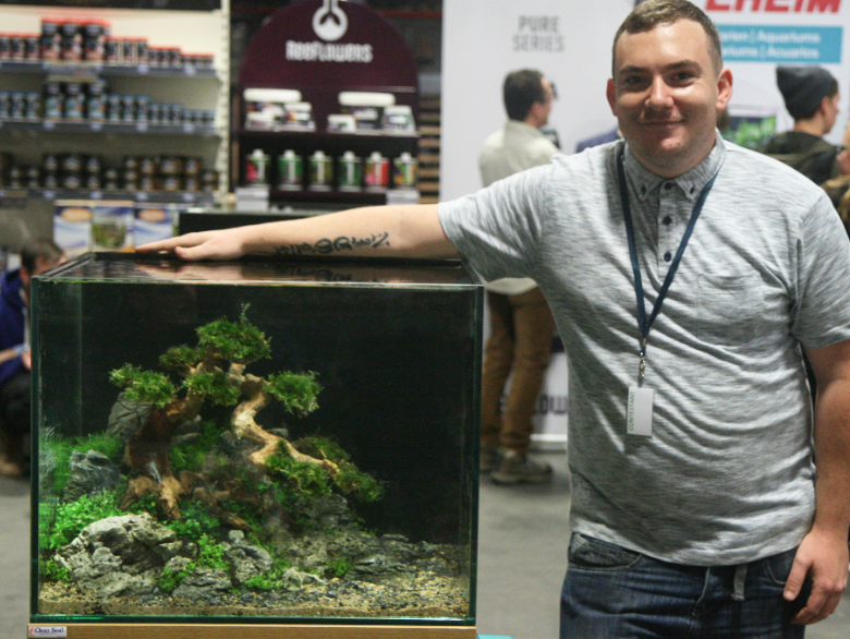 Dan Harris, with his second-placed aquascape.
