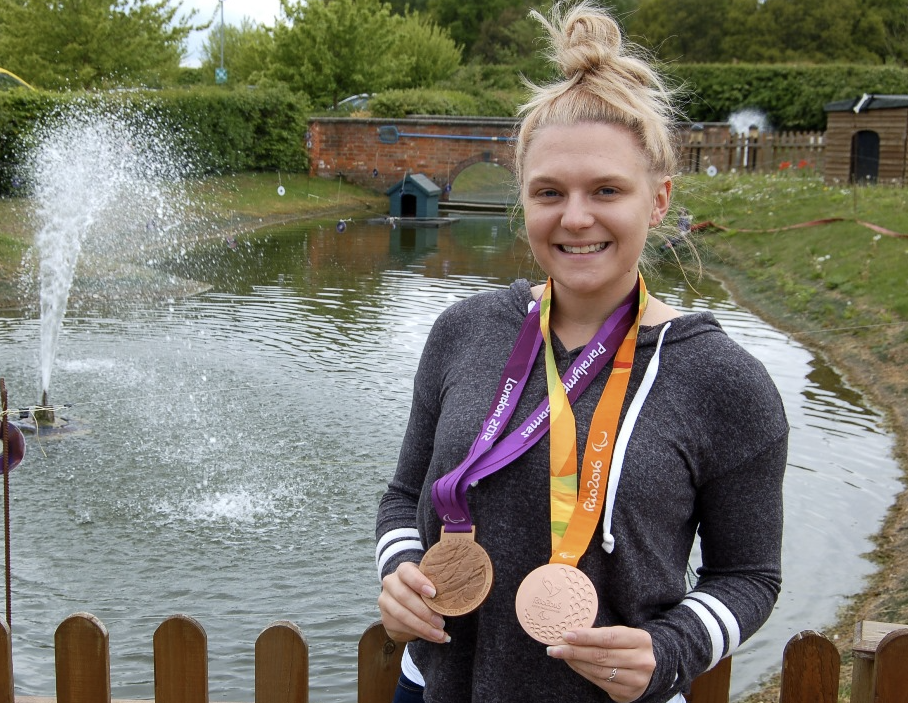 Paralympian Jordanne Whiley beside Maverick's new home.
