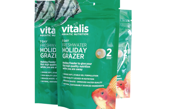 This new Vitalis holiday fish food lasts for up to seven days.