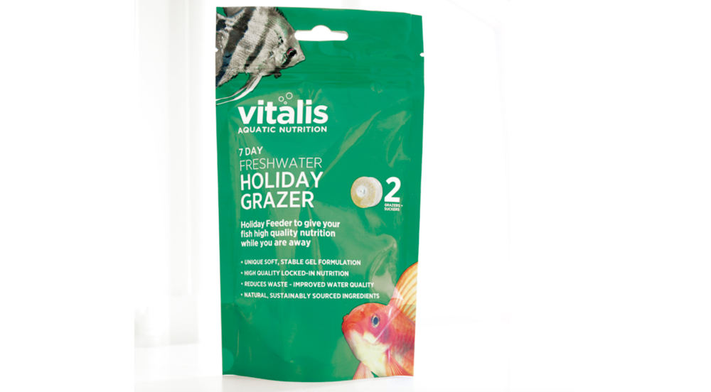 The new Vitalis Holiday Feeder uses a soft gel formulation to keep your freshwater fish fed for up to a week while you are away.