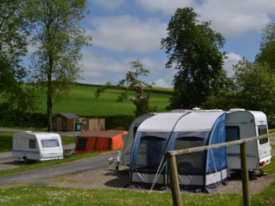 The pitches are terraced, meaning countryside views