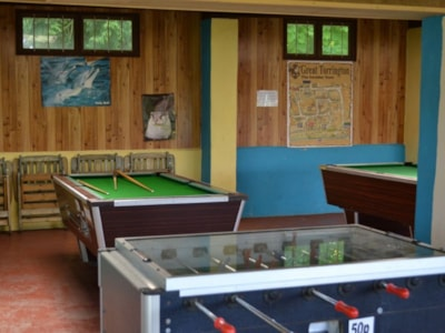 Large, indoor games room provides fun on rainy days