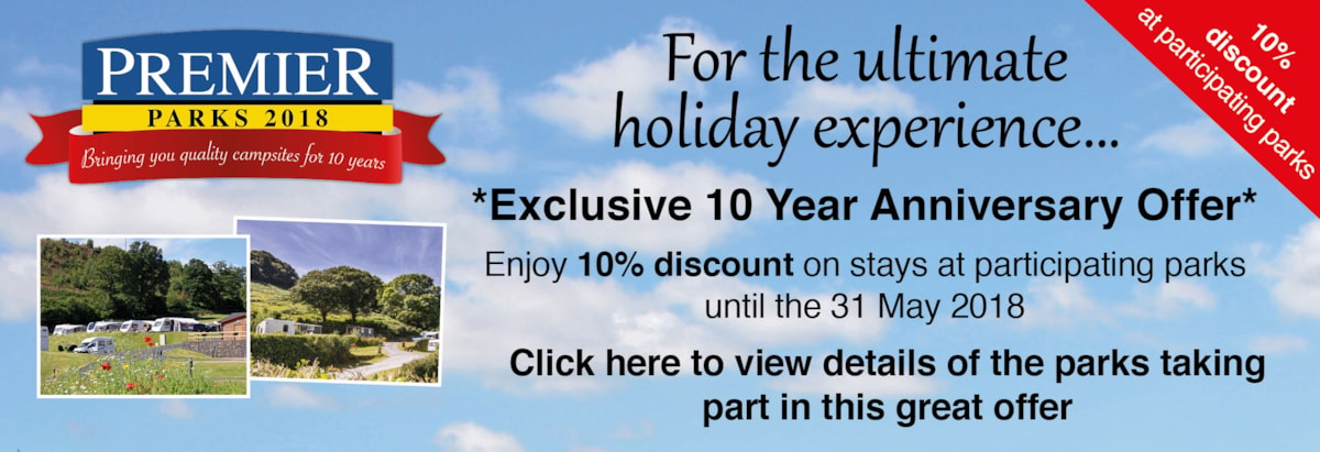 Special 10th anniversary special offer - 10% off stays at selected parks