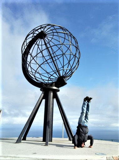 Fig 2: Feeling on top of the World at Nordkapp, where the BBC booms in on FM