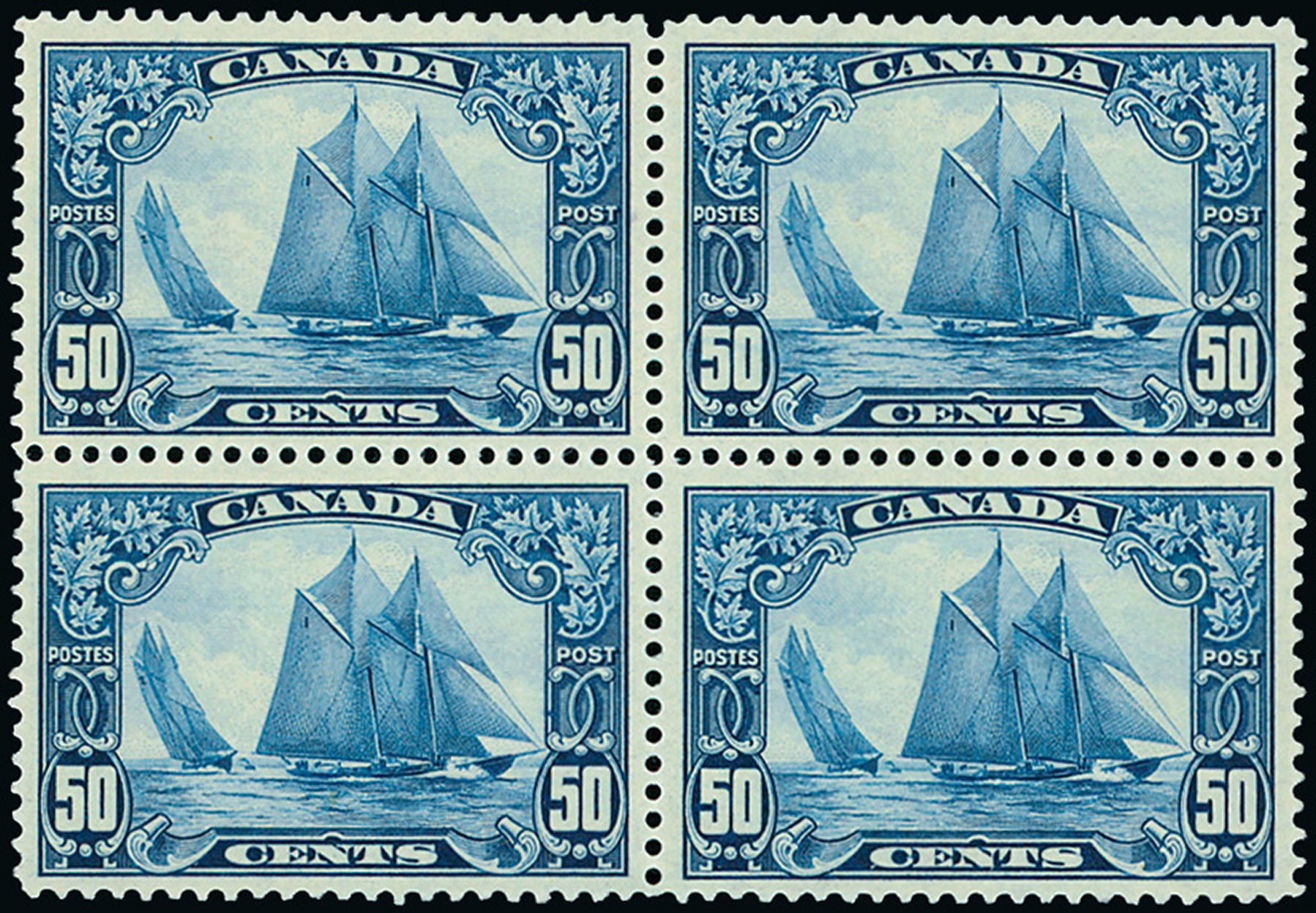 Block of four Canada Bluenose 1929