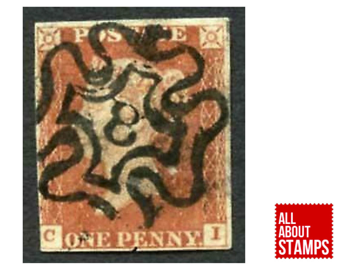 Penny Red with Maltese Cross cancellation