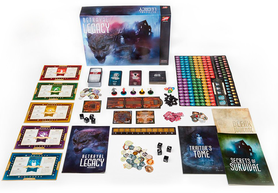 The box and components of Betrayal Legacy
