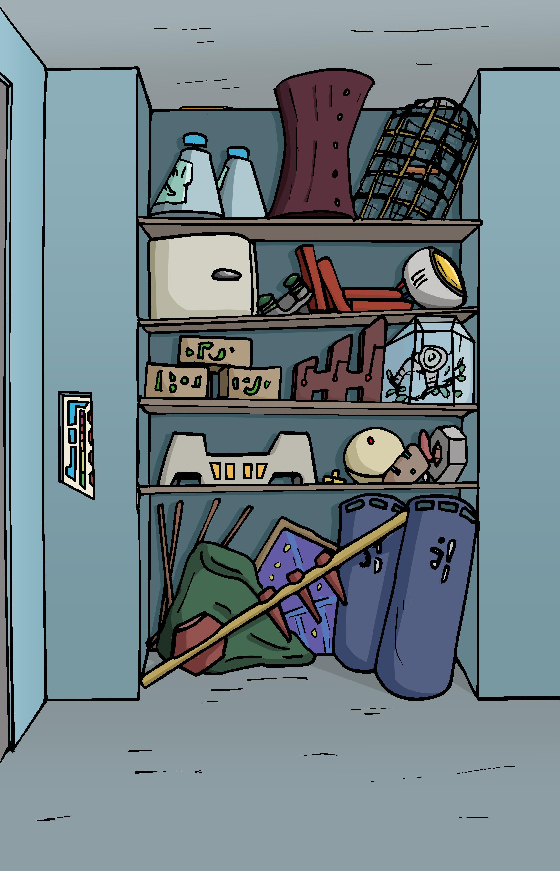The bunker cupboard, a cartoon style cupboard full of random indistinguishable items