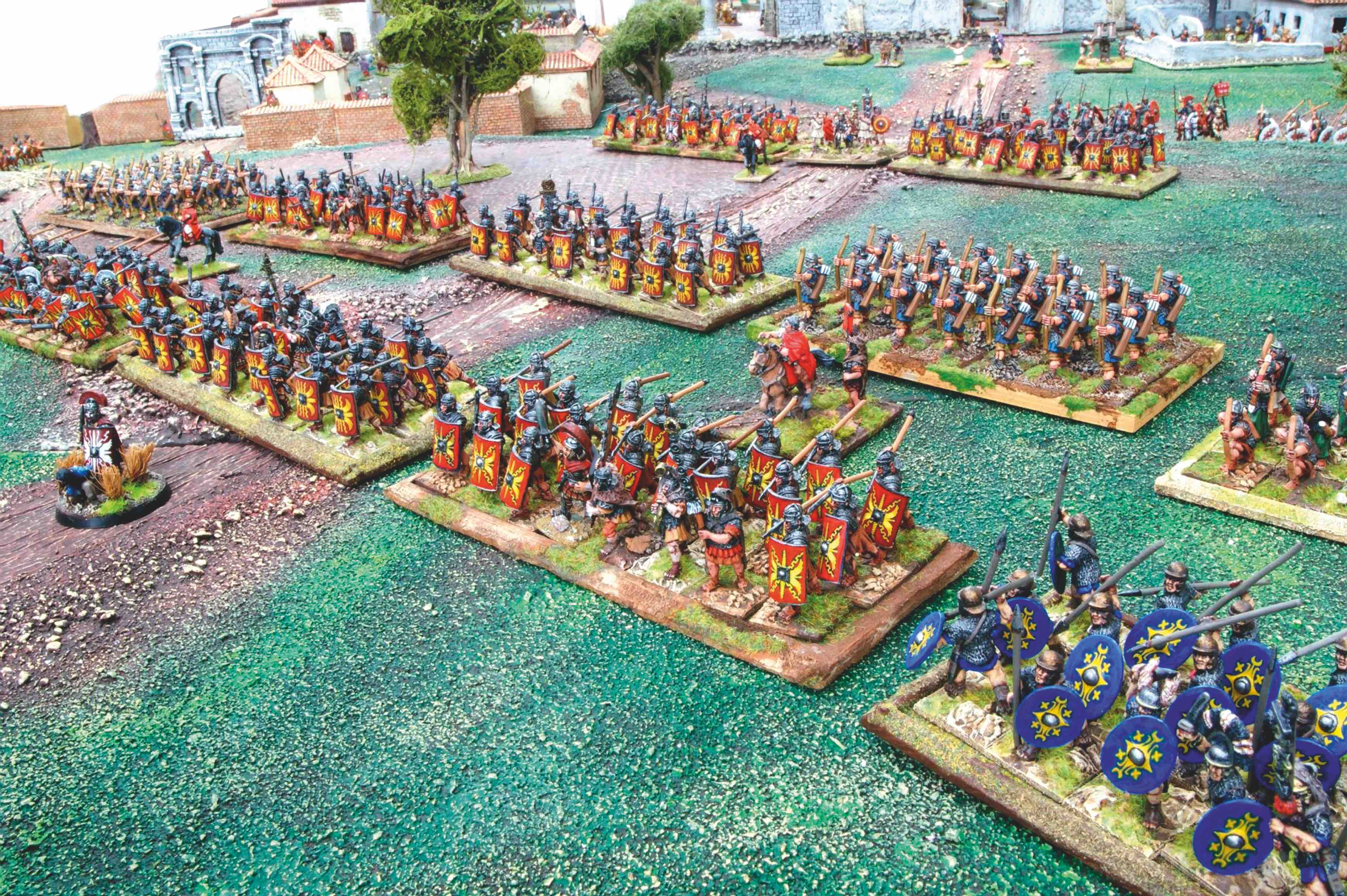 Legionaries and auxiliaries move out of the city to engage the enemy.