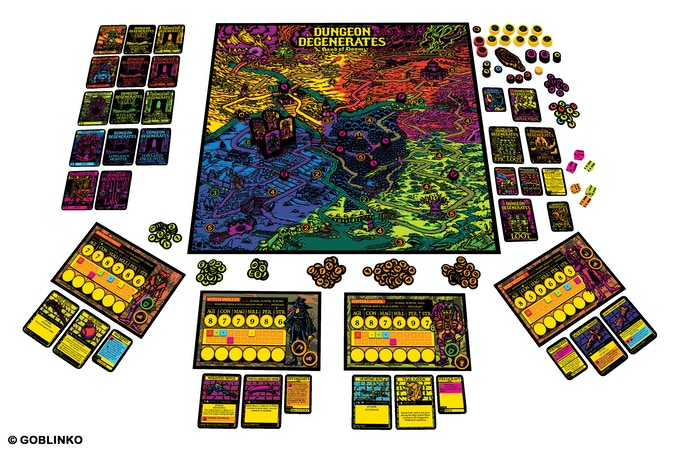 Dungeon Degenerates: Hand of Doom laid out to show the board and components