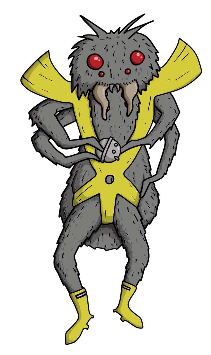 A Tamma Hellee, which is a furry bug like creature standing on two legs, with four additional arms, fangs, bug eyes, and wearing a yellow leotard like outfit with matching boots.