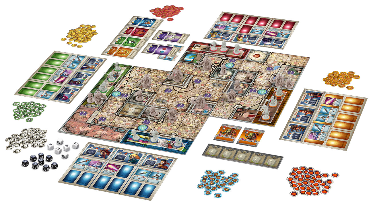 The board and components of Arcadia Quest