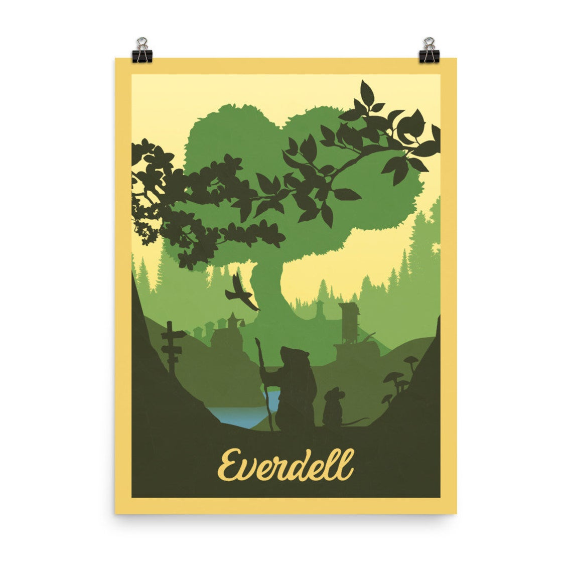 A minimalist art style poster of the board game Everdell