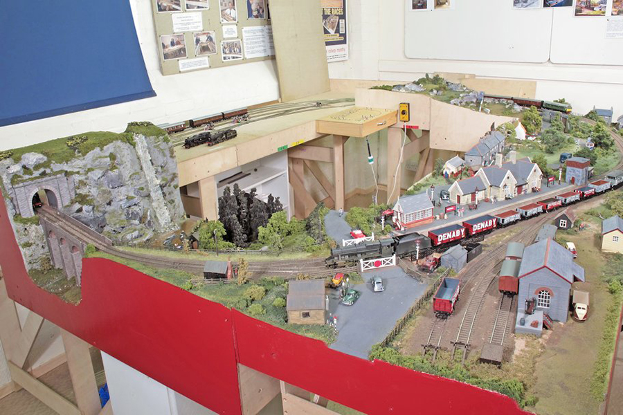 Model railway in a shed