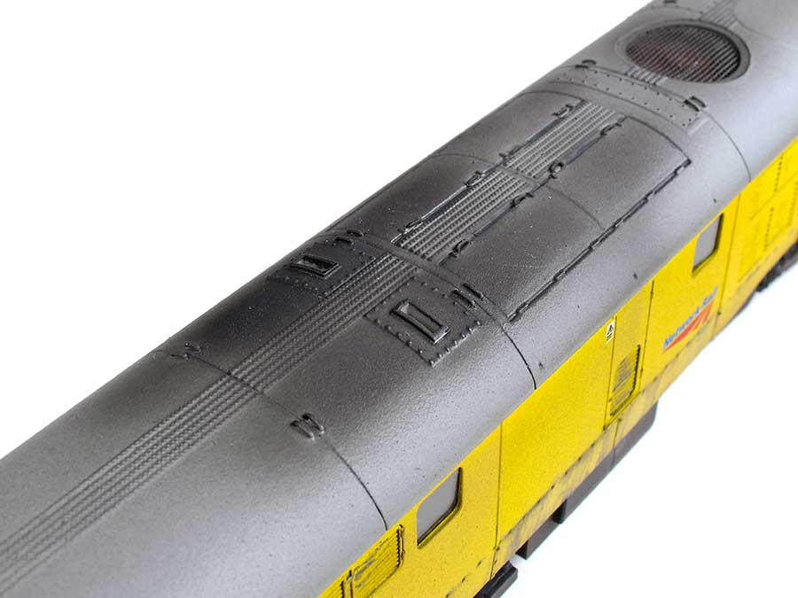 weathered soot mark on diesel model locomotive