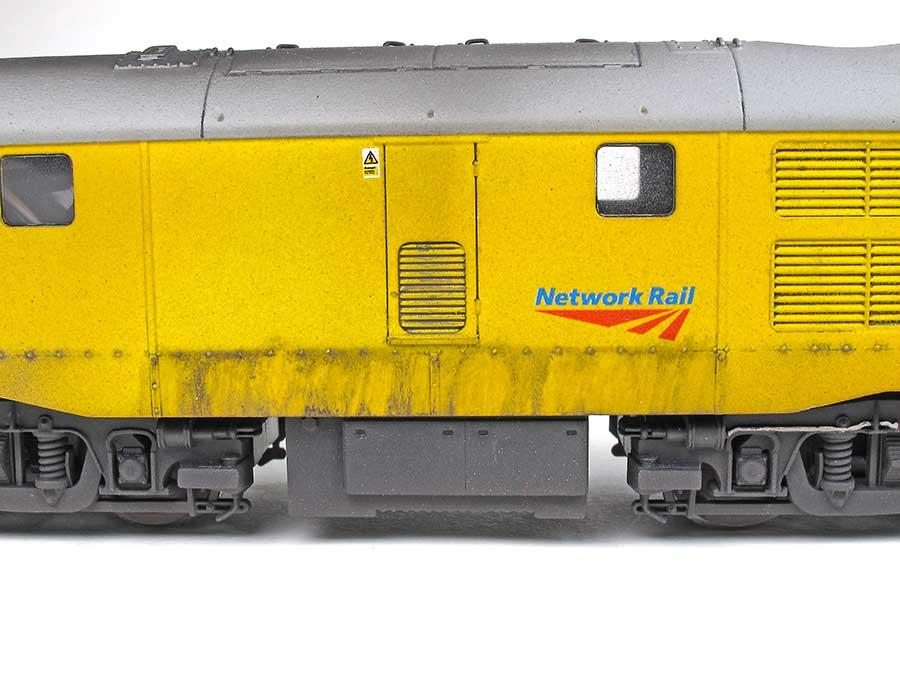 oil streaks on model diesel locomotive