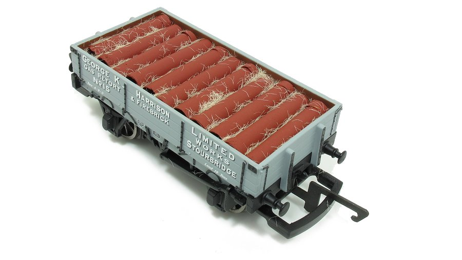 Pipes placed in model railway wagon