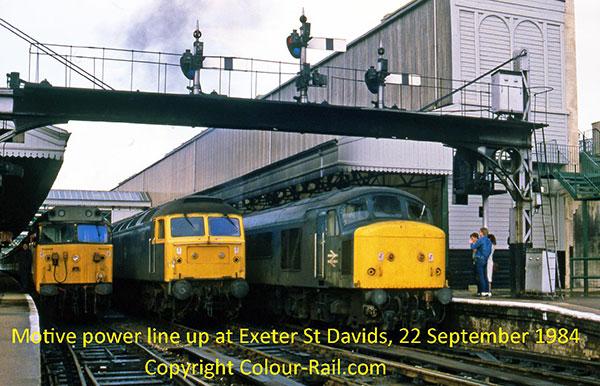Motive power line-up at Exeter St Davids, 22 September, 1984.