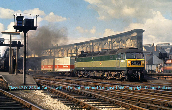 Class 47 D1843 at Carlisle with a Freightliner on August 10, 1966.