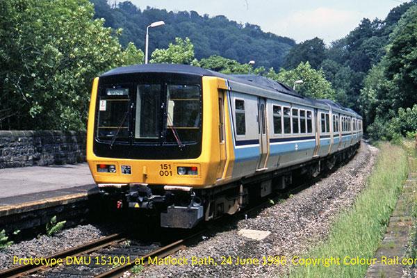 Prototype DMU 151001 at Matlock Bath, 24 June, 1986.